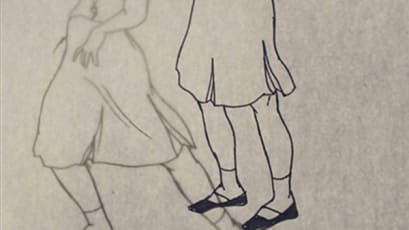 Black line drawing of a woman with her arms outstretched