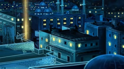 Still image from an animation by Merve Cirisoglu Cotur showing a city skyline with fireworks