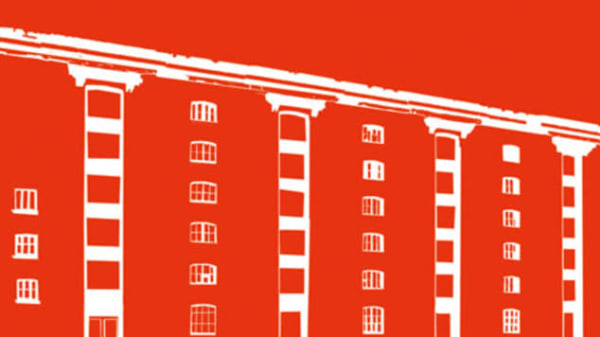 An illustration of the Granary Building on a red background