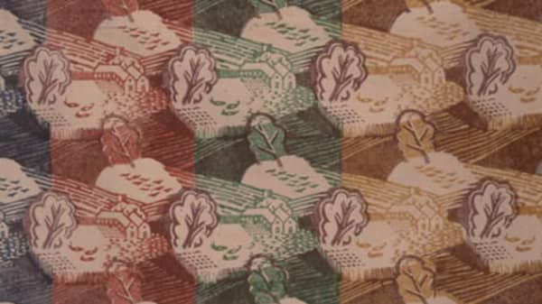 A textiles print of trees