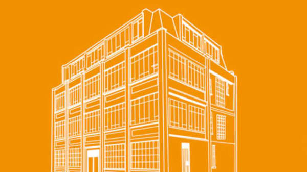 An illustration of a building on an orange background