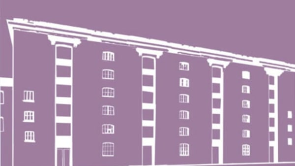 An illustration of the Granary Building on a purple background