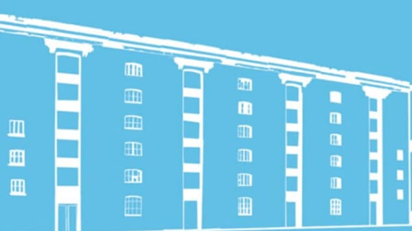 An illustration of the Granary Building on a blue background