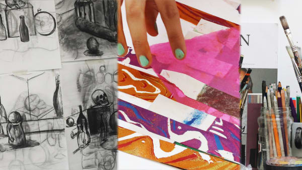 Examples of art work being created by teenage students.
