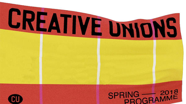 Red and yellow poster with the Creative Unions logo on