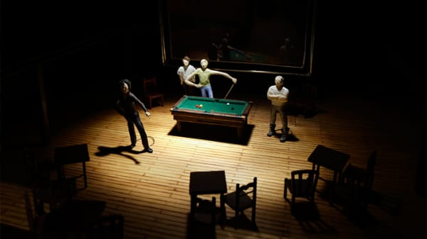 Photo of model figures standing around a snooker table with chairs around them