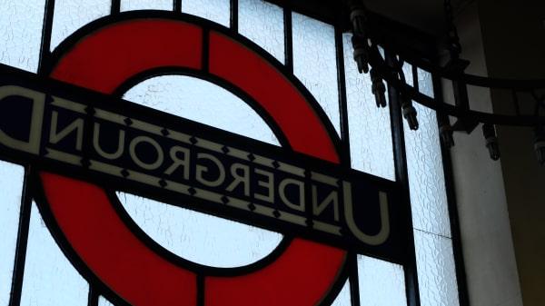 London Underground sign on glass