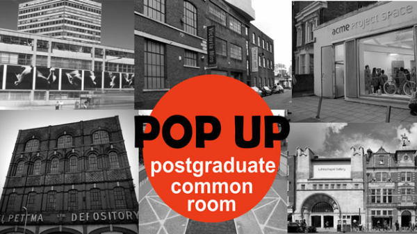 Black and white composite image of four photos of buildings with an orange cirle in the centre, with Pop Up Postgraduate Common Room written on it