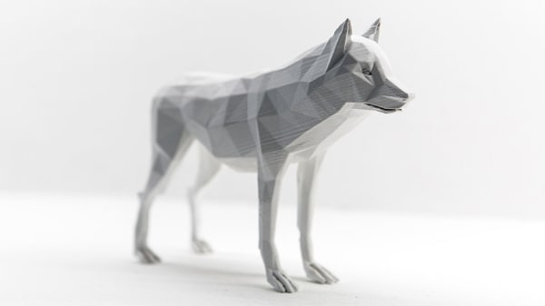 Angular white model of a dog
