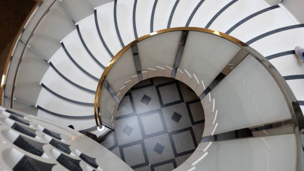View from the top of a spiral staircase looking down