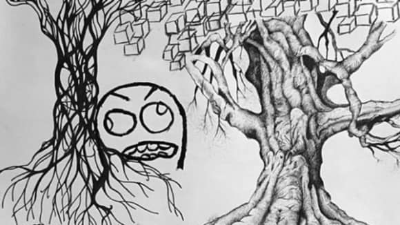 Black and white sketch of trees and a cartoon face