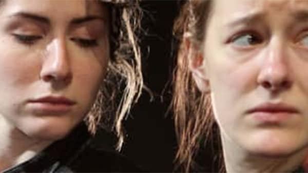 Two female actors looking away from the camera, Midsummer Night's Dream performance, MA Acting, CSM, 2012.