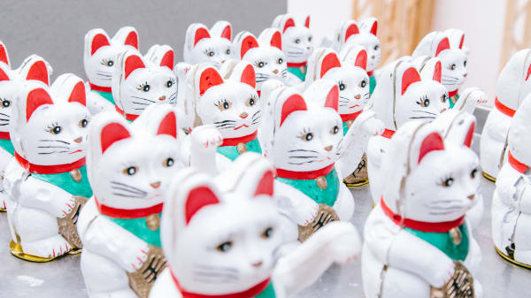 A crowd of maneki-nekos
