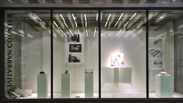 Work on display on plinths inside a Window Gallery