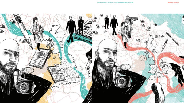 Illustration for Beyond Borders Magazine showing portraits of refugees imposed onto an illustrated map of the United Kingdom