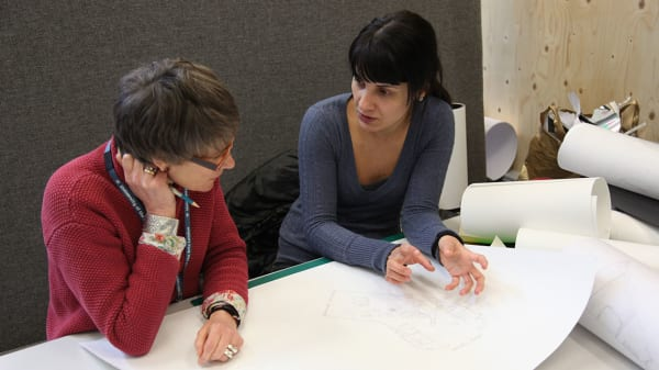 Student with tutor at Central Saint Martins. Image courtesy of UAL