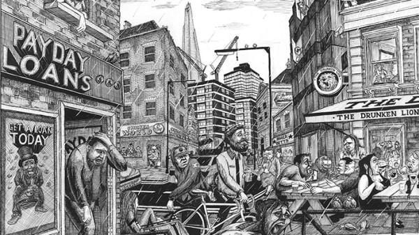 Detailed illustration with shows people walking around and standing on a typical high street in the UK