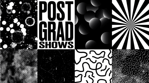 Black and white image made up of 8 portrait designs with different shapes. One design reads Postgrad Shows.