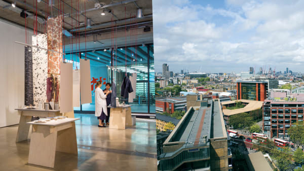 Artwork in gallery and London skyline