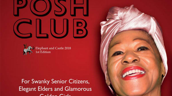 Photo of a smiling woman wearing a pink turban on the front cover of Posh Club magazine
