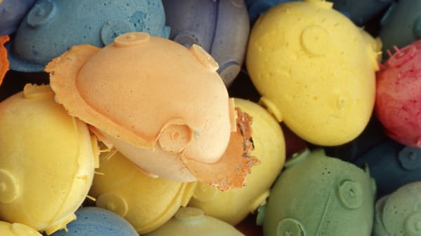 Close up shot of moulded shapes in a variety of pastel colours