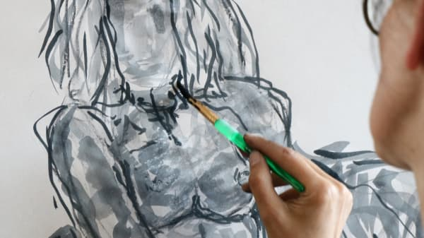 Painting of nude model