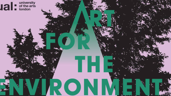 Graphic of the shadow of a tree against a lilac background with  'Art for the Environment' written across it in green lettering