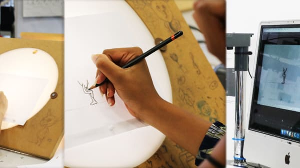 Teenage students working in an animation studio.