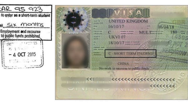 Example of a short-term visa
