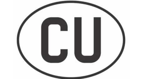 Logo for Creative Unions which is CU in capitals at the centre of a white oval