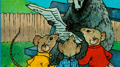 Front cover of a vintage Ladybird book, showing a badger reading a newspaper to three mice.