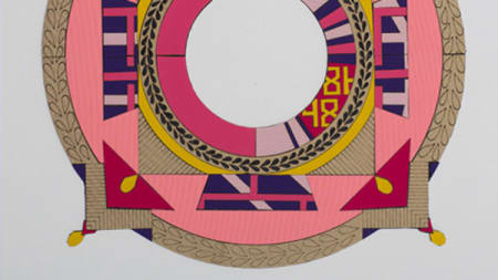 A drawing of a circle with pink, gold, purple and yellow detailing