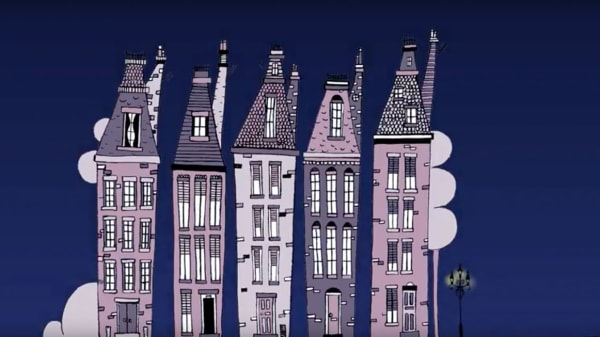 Drawing of a row of five houses against a dark blue sky