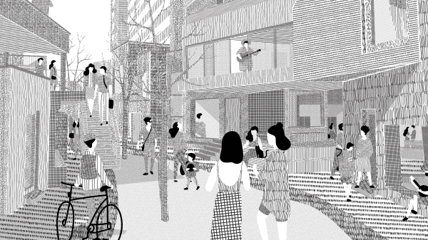 A black and white architectural illustration