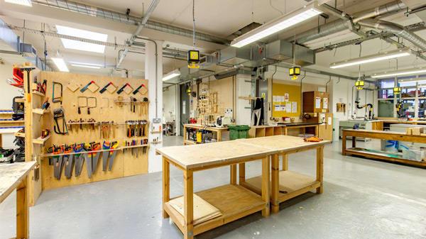 inside a woodwork workshop at Central Saint Martins