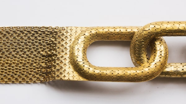 Detail of a gold linked chain