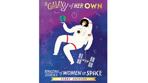 Book cover of a illustration by Rosie Chomet, showing a female astronaut floating in purple space, wearing a white spacesuit and balancing the earth on her palm.