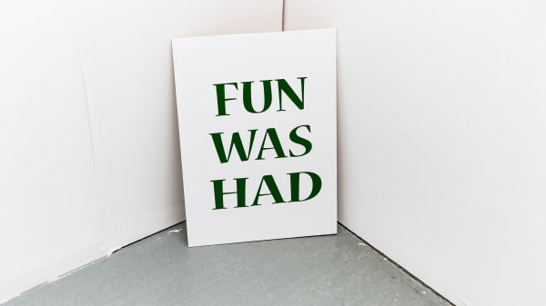 Fun was had text written on a card - image for Teenagers short courses at London College of Communication