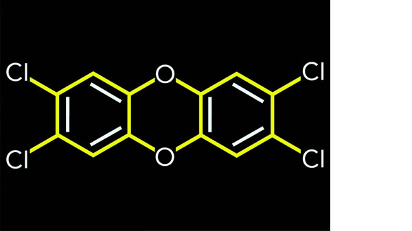 A chemical compound structure on a black background