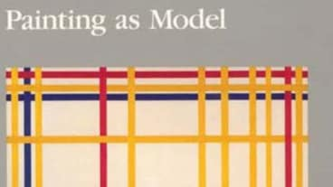 Grey background with square of yellow, pink and blue lines on it and the words 'painting as model' written on it