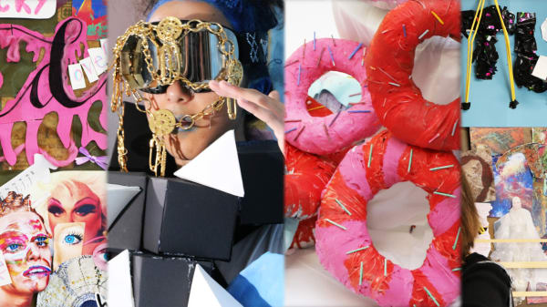 Examples of work made by fashion design and styling teenage students.