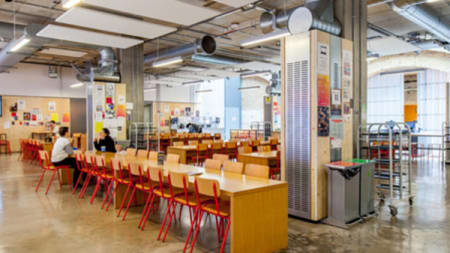 Inside the canteen at Central Saint Martins