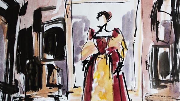 Costume sketch by Lucy Algar.