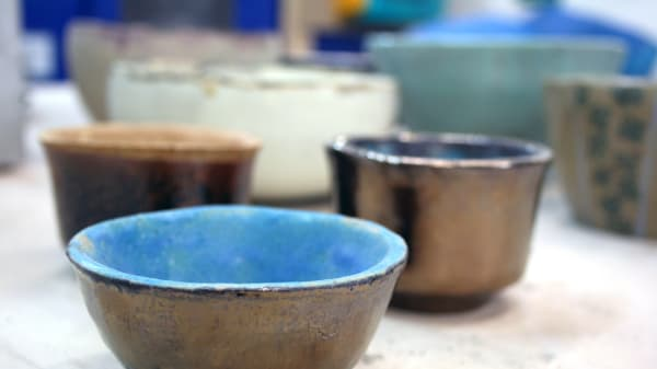 Examples of ceramic pots made by students