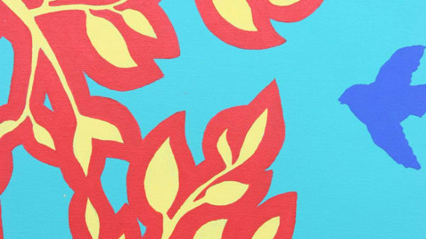 Red and pale yellow flower graphic on a blue background