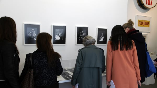 students in discussion during a gallery visit