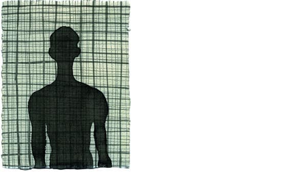 The outline of a figure against a green gridded background