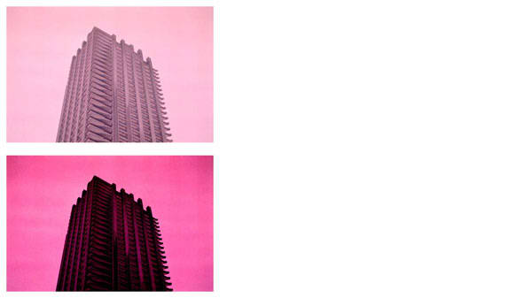 Two photos of the Barbican tower with pink filters