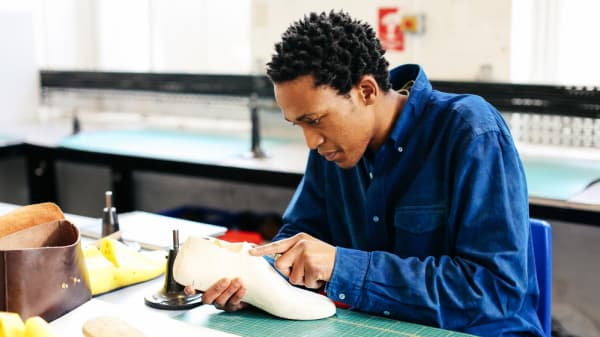 Mfundo Mahlangu from BA Cordwainers Footwear- Product Design and Innovation; Photographer Alys Tomlinson
