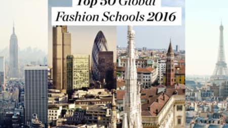 Three cityscapes next to each other, 'Top 50 Global Fashion Schools 2016' is written at the top